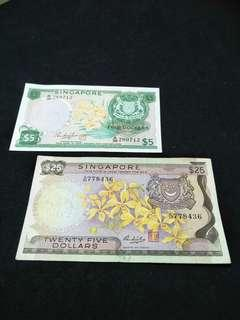 Old Orchid Series $5 & $25 notes  2pc sale $222