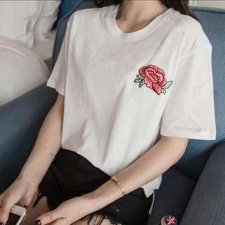 [PO] Rose Embroidered Tee