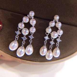 小單品純銀耳釘耳環 天然淡水珍珠