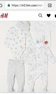 BNWT H&M Baby 5-piece Set (Bodysuit / Romper / Pants / Shirt / Hat) 6-9 months