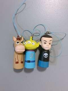 Pixar 扭蛋小電筒x3