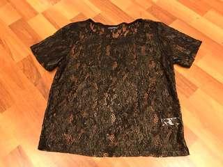 Topshop gold+black lace top