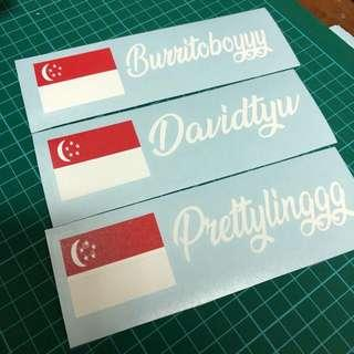 Singapore flag with customised name car decal