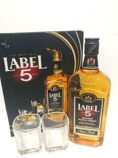 「香醇」 LABEL 5 威士忌700ml禮盒連2隻杯