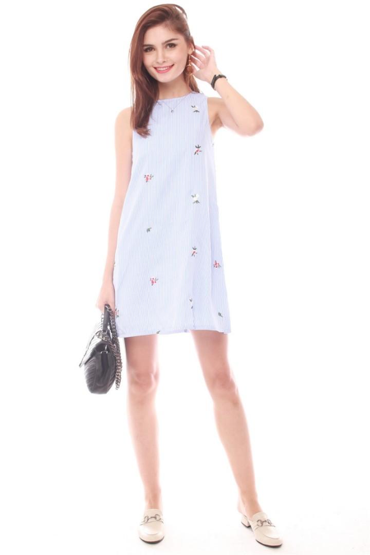 98d532813a9c ACW Embroidery Pinstripe Trapeze Dress, Women's Fashion, Clothes ...