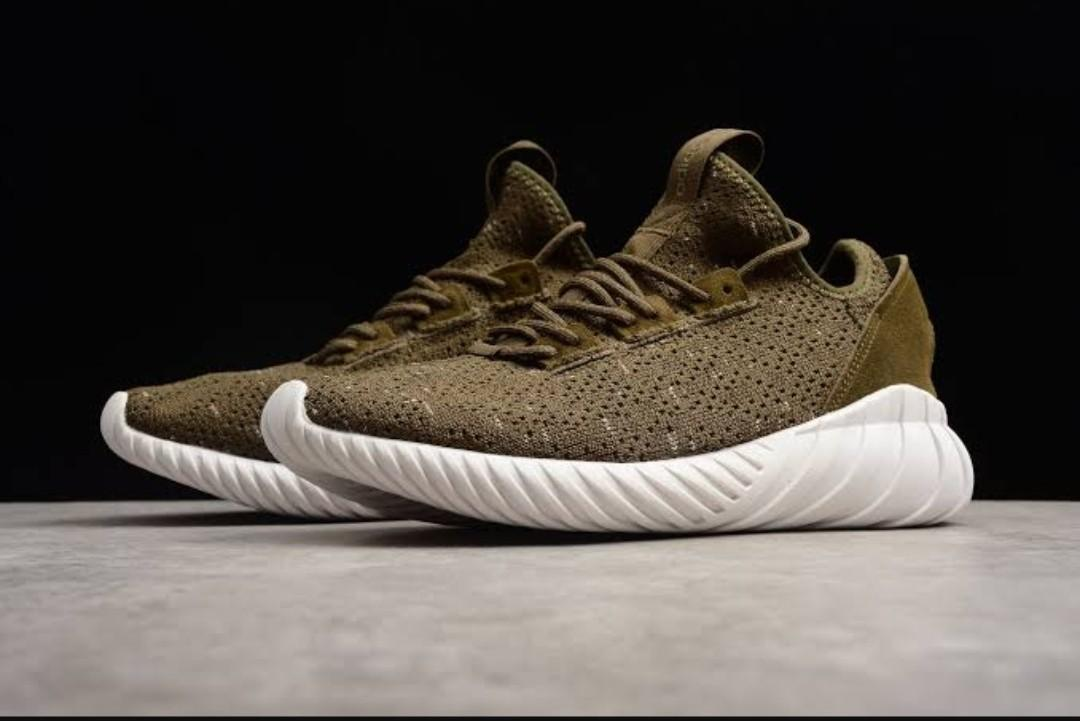 detailed look 17de2 a8a6a Adidas Tubular Doom Sock Primeknit Trace Olive/White/Night Cargo CQ0683 on  Carousell