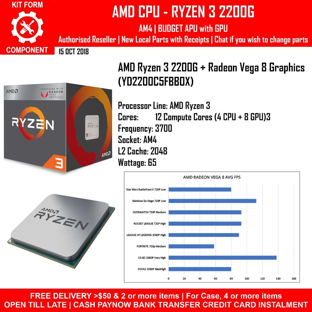 Amd Ryzen 3 2200g With Radeon Vega 8 Graphics Yd2200c5fbbox Electronics Computer Parts Accessories On Carousell