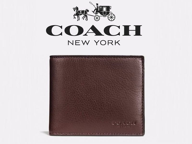 28e639605c158 Authentic COACH Compact ID Sport Calf Bifold Genuine Leather Wallet ...