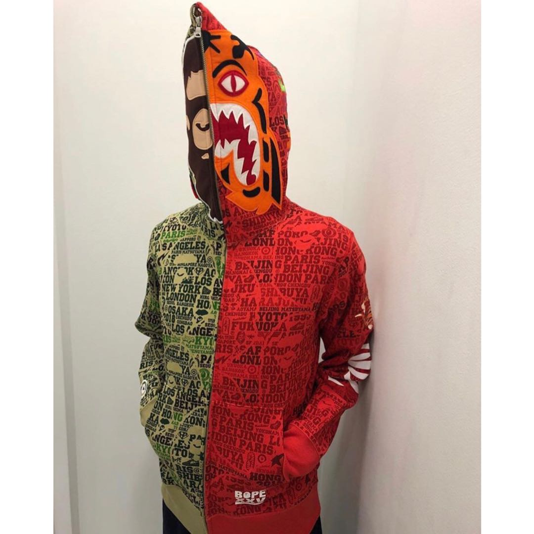 88e2fad83 BAPE XXV CITIES CAMO 2ND APE TIGER HALF FULL ZIP HOODIE, Men's Fashion,  Clothes, Outerwear on Carousell