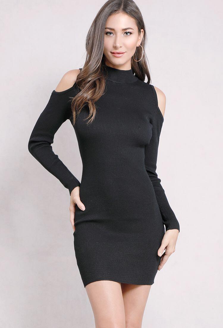 bd6a926ef0e1 Black Ribbed Bodycon Dress, Women's Fashion, Clothes, Dresses ...
