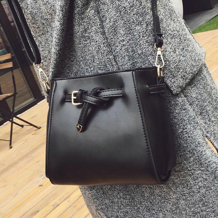 Black Brown Sling Bag for women woman girls young ladies handbag Korean hand  bag office work casual Ulzzang Kpop plain simple messenger bucket leather  ... b6e5c89a2a04b
