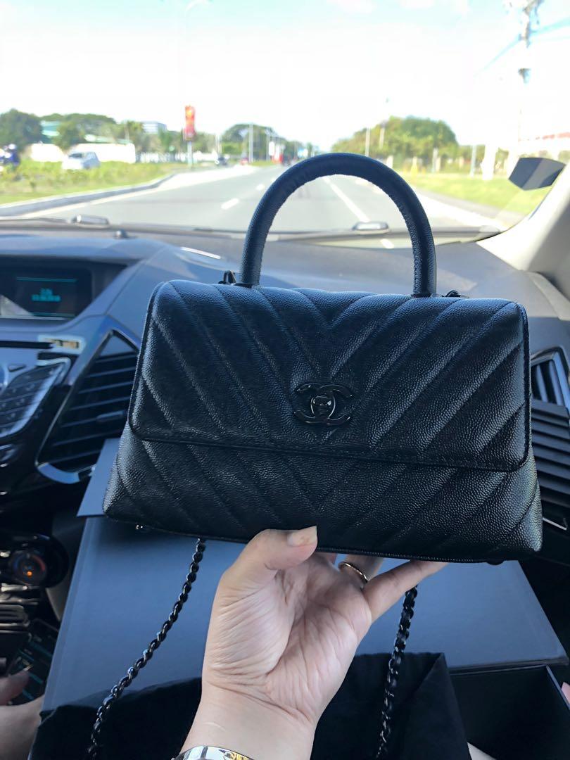 c0754c9de317 Chanel Coco Handle Chevron So Black Mini, Luxury, Bags & Wallets, Handbags  on Carousell