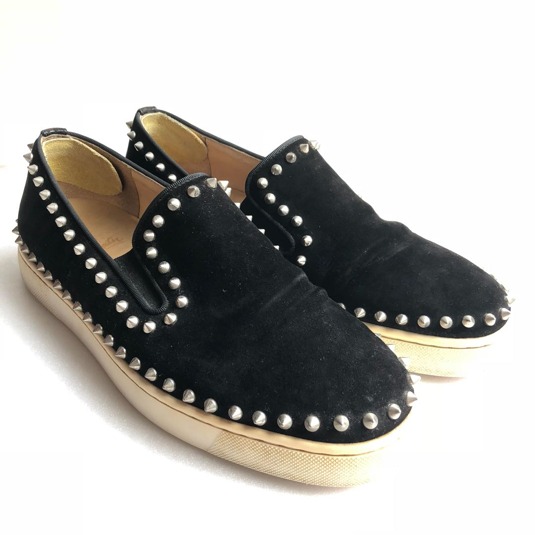 new style bb9f4 62040 Christian Louboutin - Black Suede Pik Boat in Size 42