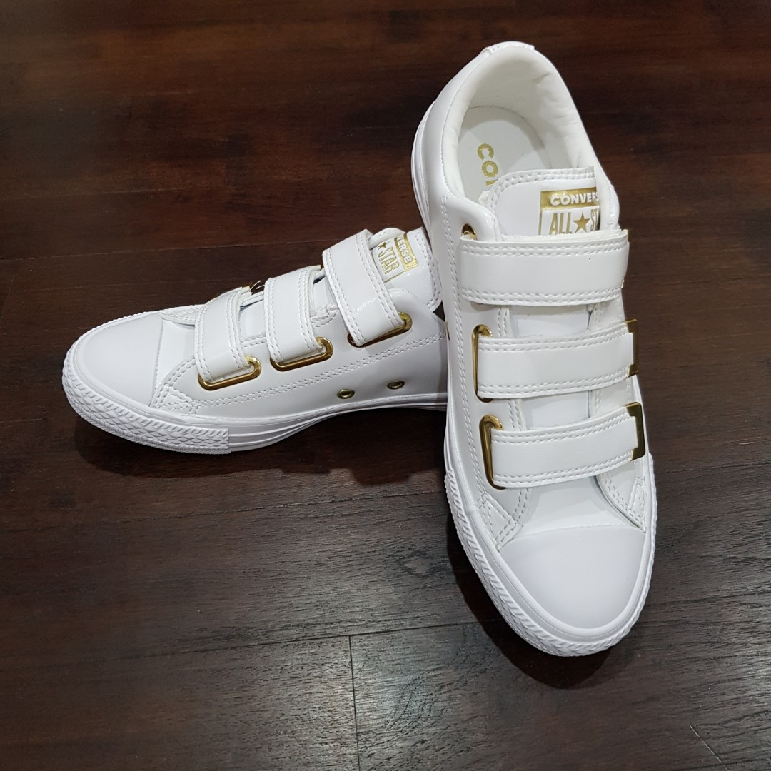 735671938259 Converse ladies sneakers White with gold trimmings