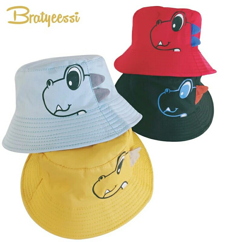 cda5d0a0d9f Dinosaur Baby Hat Cotton Double-sided Bucket Hat Baby Spring Autumn ...