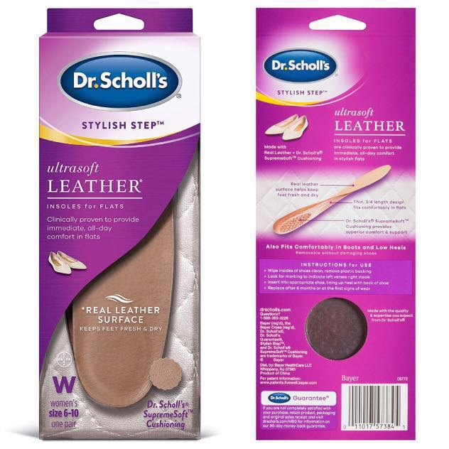 3358edf549 Dr Scholl's Stylish Step Leather Insoles for Flats | Women's Size 6 ...