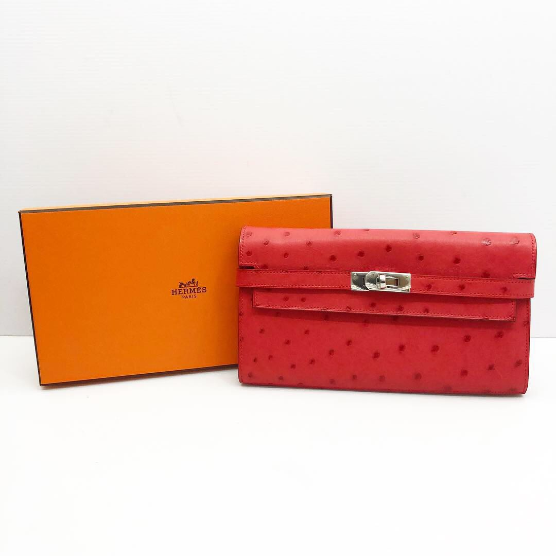 b06bb7312452 Hermes Kelly Wallet Ostrich 187003760