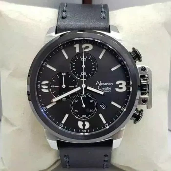 Jam Tangan Alexander Christie Pria Ac 6280 Black Silver original, Men's Fashion, Men's Watches