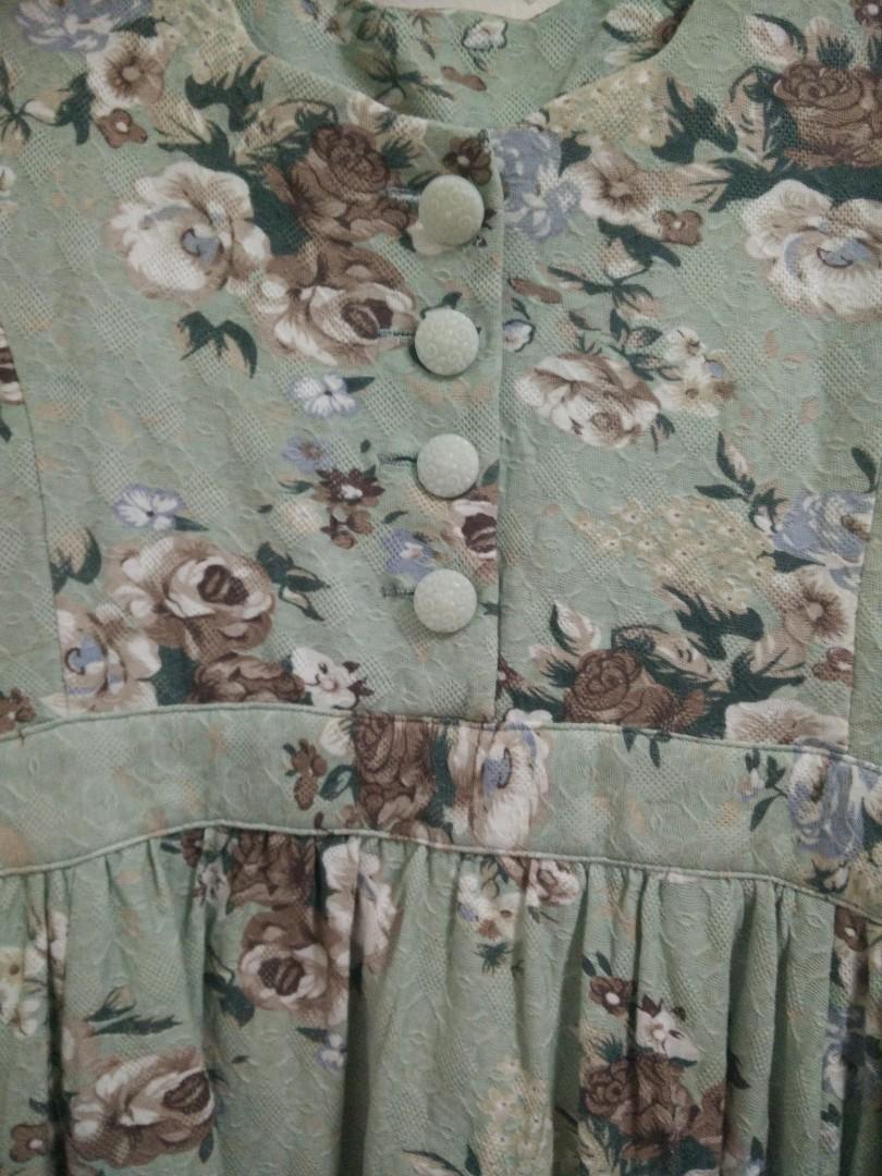 JAPAN Green/Brown Floral Button Dress