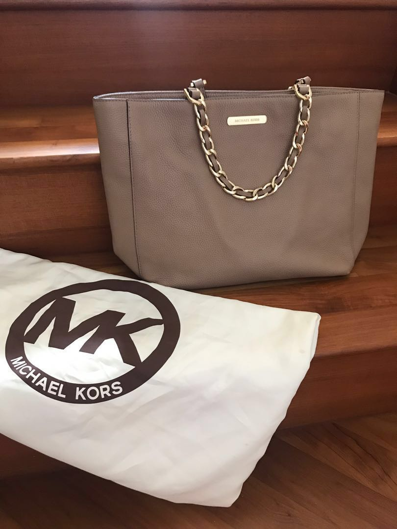 6f88ca26809d03 MICHAEL KORS] Nude tote with chain and strap handles, Women's ...
