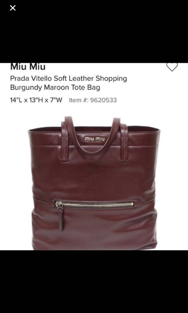 62dbb72b03 Miu Miu Vitello Soft Leather Tote Bag, Luxury, Bags & Wallets ...