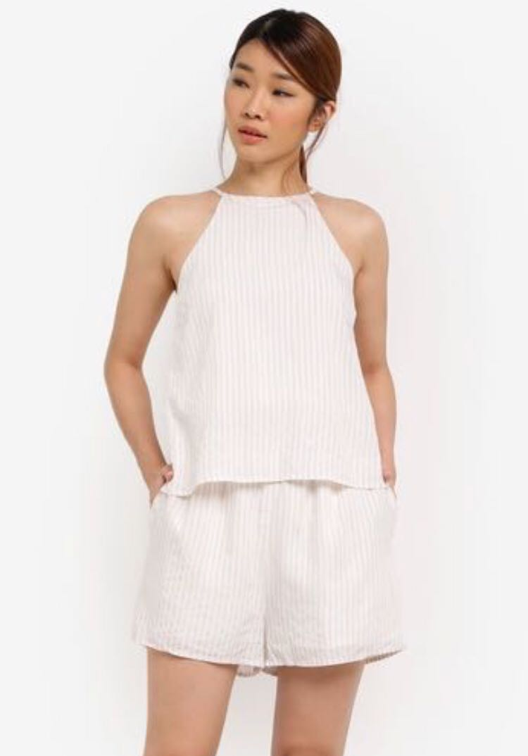 6abc9cd54cd7 Something Borrowed Double Layer Cut In Romper in Off White