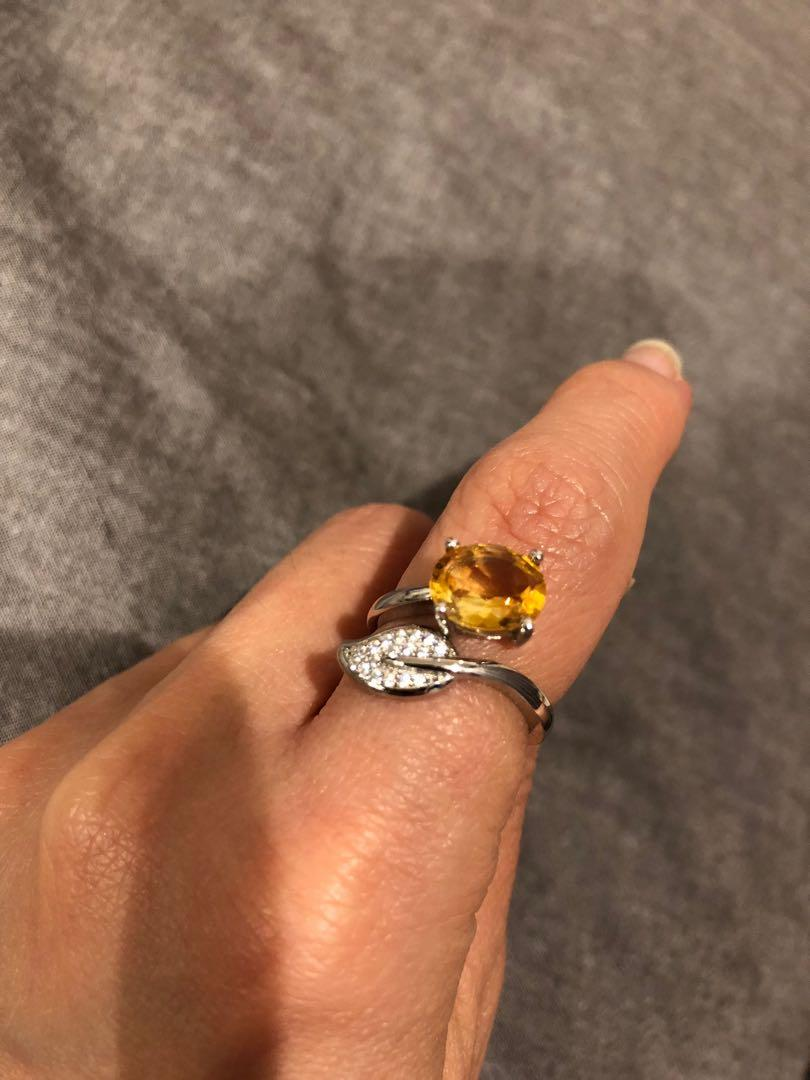 Yellow clear quartz ring (adjustable)