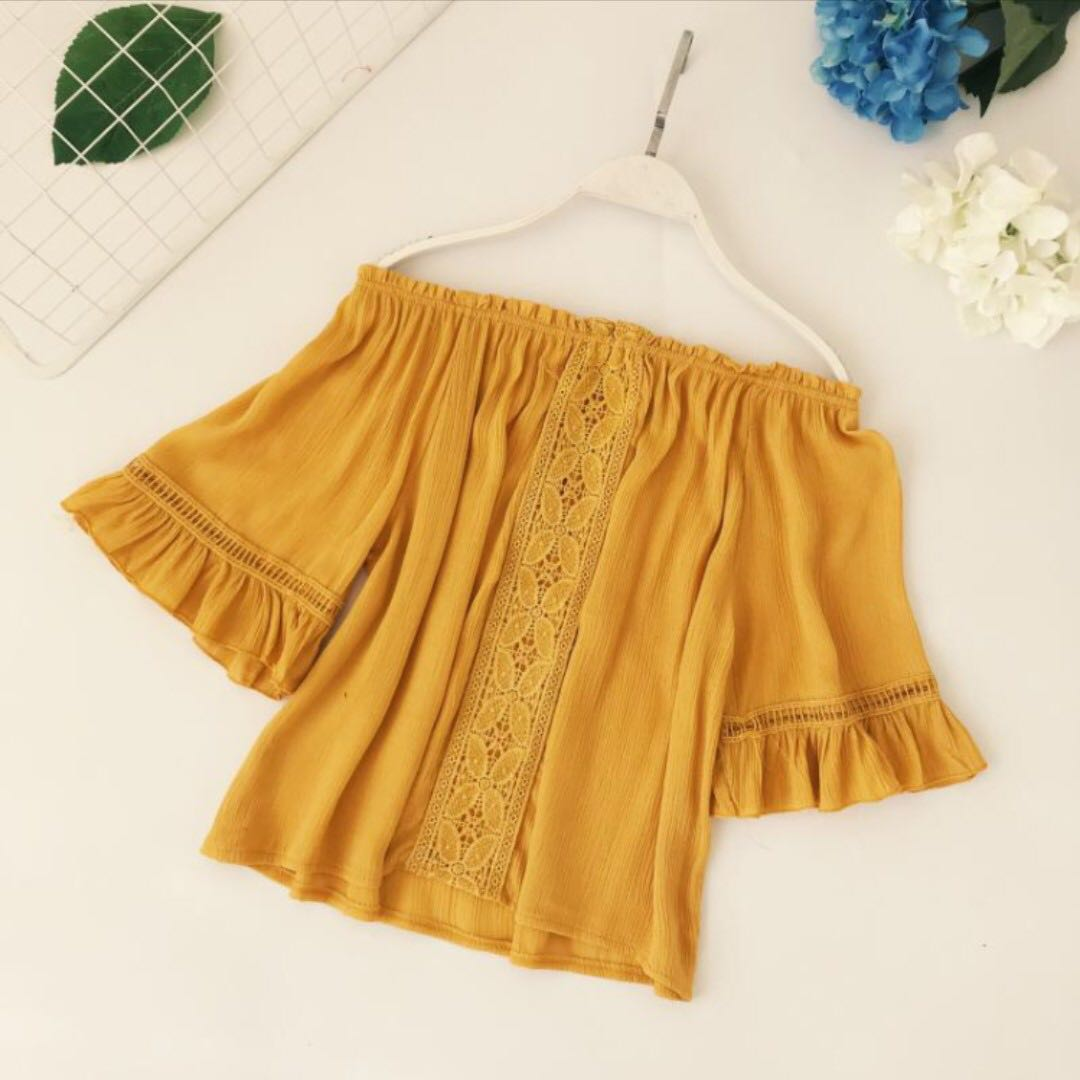 cef44bde1a yellow off shoulder blouse
