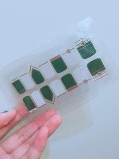 🚚 ✨指甲貼紙 白綠鑲金邊