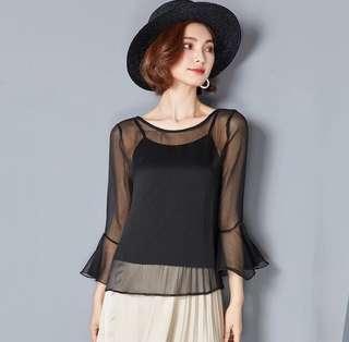 🚚 Translucent mesh Long sleeve teal blue tank top