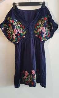 🚚 Embroidery Blue Blouse Top *Ready stock*