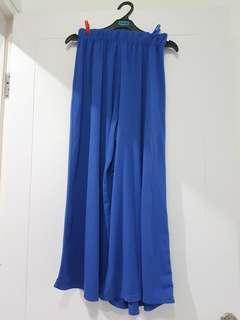 Celana panjang loose bahan kaos biru elektrik adem bisa buat dirumah atau jalan2 karet pinggang all size bawah lebar jumbo