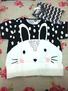 (NEW) Pop Out Bunny Tee 18-24 bulan High Quality