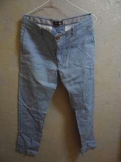 工作褲 長褲 休閒褲 色褲 水藍 男性L號
