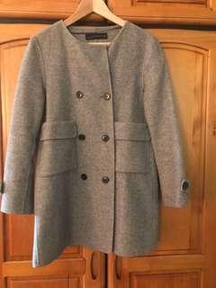 🚚 Zara灰色毛呢雙排外套大衣