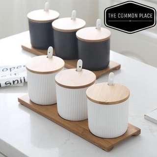 INSTOCK White / Black Scandinavian Wooden Condiments Ceramic Storage Jar Kitchen Set Cooking Salt Spices