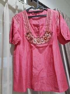 Baju atasan pink etnik manik cantik buat kondangan atau kerja branded merk P.S timur tengah
