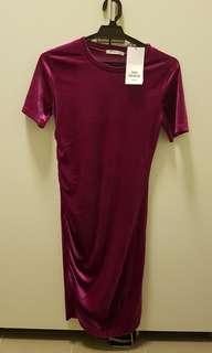 Zara fuschia velvet bodycon midi dress