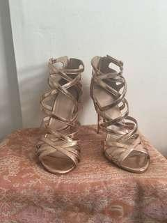 Top shop Gold strappy shoes
