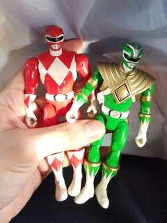 Mighty Morhin Power Rangers Green and Red Rangers (Articulated) MMPR