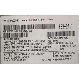 Hitachi Sata 500GB 7.2K RPM