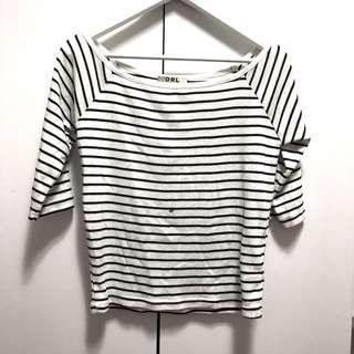 🚚 GRL日本帶回辣妹品牌黑白條紋上衣條紋T
