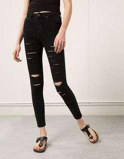 Bershka high waist distressed jeans - size US 2