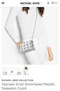 Michael Kors Collection Sling Bag or Clutch (Yasmeen Small Grommeted Metallic Snakeskin Clutch)