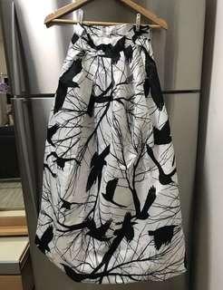 Black White Patterned Maxi Skirt 黑白圖案半截裙