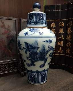 Blue and White Old Plum Vase with Cover