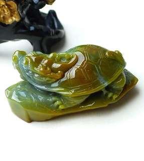 缅甸天然翡翠A货玉器龙龟小摆件