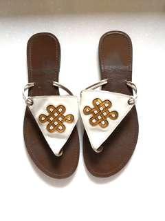 Diane Von Furstenberg White Gold Flat Sandal