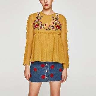zara mustard blouse