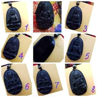 Natural Black Obsidian Lucky Chinese Zodiac Pendant with necklace